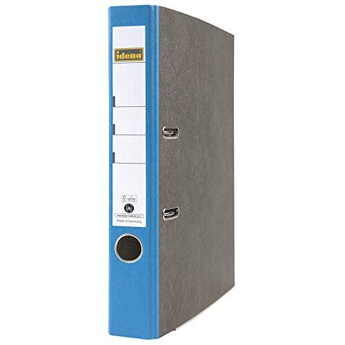 Idena 303067 - Ordner für DIN A4, 5 cm breit, FSC-Mix, Wolkenmarmor, blau, 1 Stück