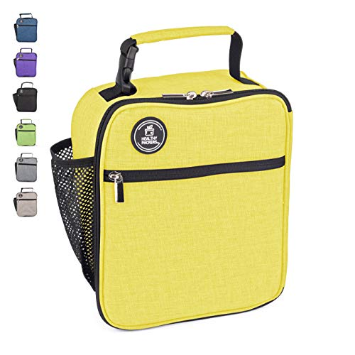 Insulated Lunch Box for Adults and Kids - Professional Work Lunch Bag for Men and Women - Spacious and Heavy Duty School Lunchbox for Boys and Girls (Yellow)