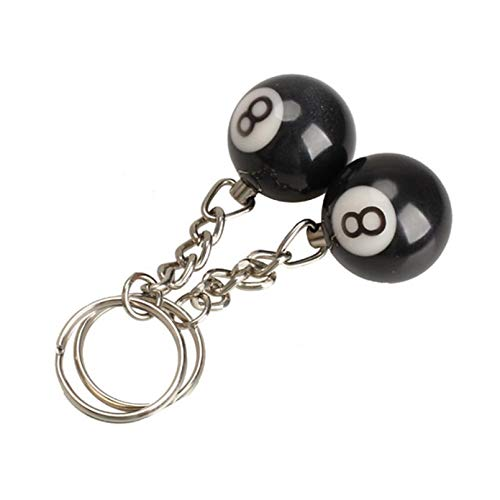 MINTUAN 2 Stück Billard Pool Schlüsselbund Schlüsselringe Snooker Tisch Ball Schlüsselbund Geschenke Glück Nr. 8 Schlüsselbund 25Mm