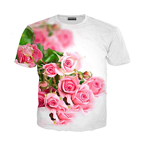 T Shirt Summer Men Women Hyacinth Sweatshirt 3D Print Rose Short Sleeve Hip Hop Streetwear Pullover 15 Asia XL