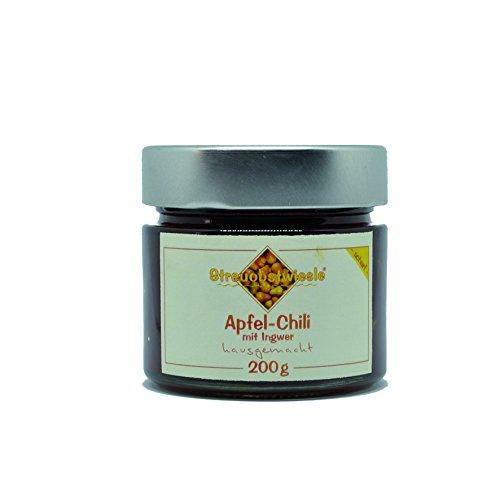 Streuobstwiesle Apfel-Chili mit Ingwer - 200 g - Herzhaftes, aromatisches Chutney mit Chili und frischem Ingwer zum Grillen, zum Fondue, zum Raclette, zum Käse, zum Reis...