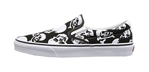 Vans Mens U Clasic Slip ON Skulls Black White Size 5