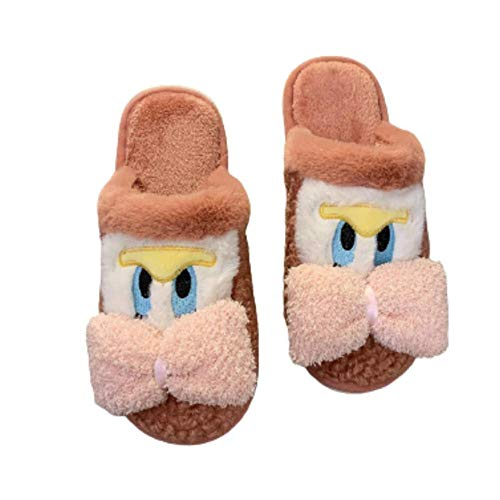 Y-PLAND Zapatillas Baotou de Felpa de Pato de Dibujos Animados, Zapatillas de Lazo para Hombres y Mujeres, Zapatillas de algodón para el hogar de Felpa para Parejas-Naranja_EU35-36