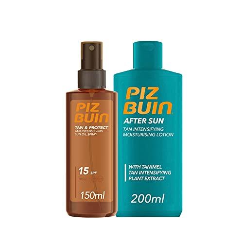 Piz Buin, Tan & Protect, Aceite en Spray Acelerador del Bronceado SPF 15 + After Sun Loción Hidratante