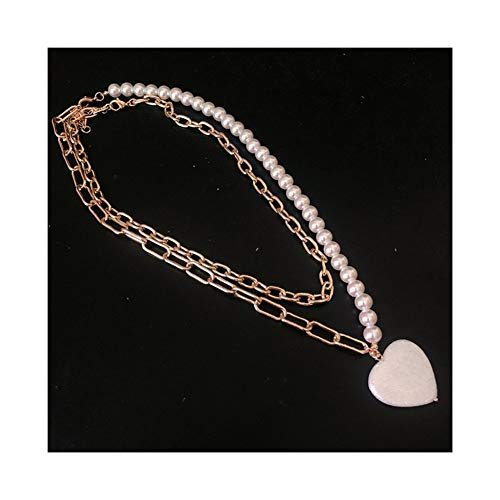 Pareja 2pcs / Set Perla Cadena de Cerradura Collares Colar Punk gótico Colgante de Collar de la Mujer Festival de Gargantilla del corazón Mujer niña para (Metal Color : Pearl Heart Gold)