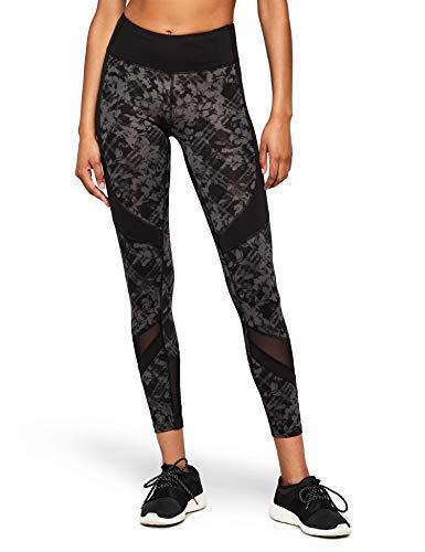 Amazon Brand - AURIQUE Leggings deportivos con paneles para mujer, Gris (Black/Grey Print Black/Grey Print), 42, Label:L