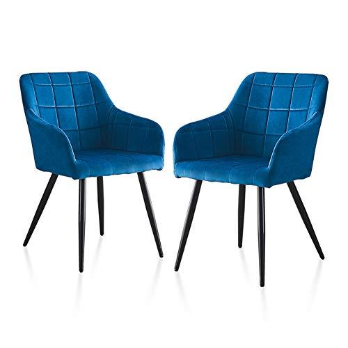 TUKAILAI 2 sillas de comedor tapizadas ocasionales, sillas de salón o oficina, comerciales, restaurantes, salas de estar, sillas de terciopelo azul