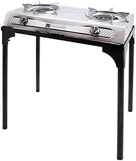 STANSPORT Stainless Steel 2-Burner Stove w/Stand