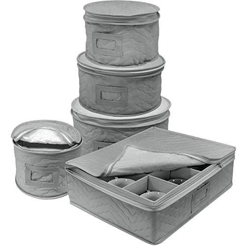 Velidy - Juego de 5 piezas de almacenamiento para platos y tazas, a prueba de polvo, para guardar o transportar platos de porcelana fina, tazas de té, copas de vino (gris)