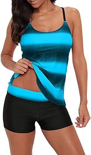 Century Star Women's Athletic Two Piece Tummy Control Swimwear Paisley Printed Swimsuit with Boyshorts Bathing Suit Z Black Blue 2X-Large (fits Like US 12-14)
