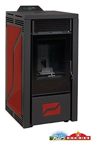 BRONPI Estufa de pellets 12 kW Mod.Leticia Color Negro y Burdeos