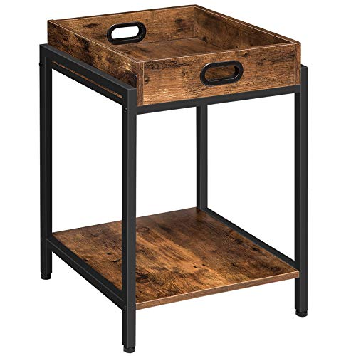 HOOBRO Beistelltisch, Sofatisch mit herausnehmbarem Tablett, Nachttisch mit offenen Regalen, Snack-Tablett-Tisch, Industriestil, Schlafzimmer, Wohnzimmer, Stabil, Einfach montierbar, Vintage EBF45BZ01