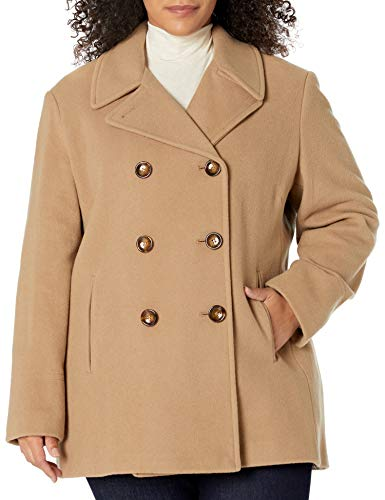Calvin Klein Plus Size Womens Double Breasted Peacoat, CAM, 3X