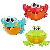sharprepublic 3pieces & Frog Bubble Maker Machine Musical Baby Kids Baño Ducha Juguete