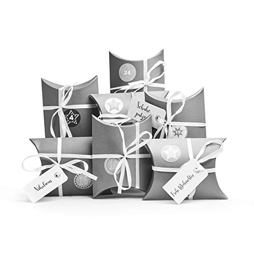 Plantvibes ® 24 Adventstüten aus hochwertigem Kraftpapier mit schönem Muster inkl. Sticker, Vintage Tüten
