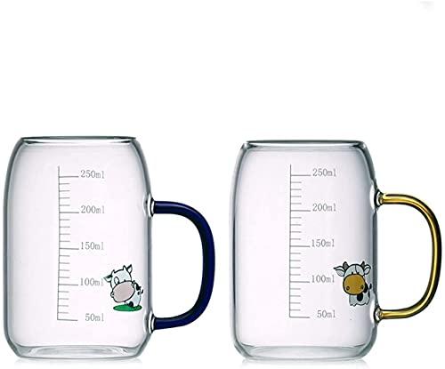 2 juegos de tazas de leche para el desayuno, taza de jugo de vidrio a escala a prueba de explosiones resistente al calor engrosada para niños, linda casa