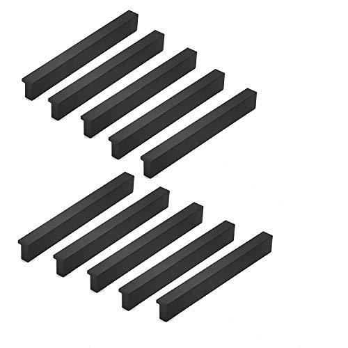 Qrity 10x schwarze Möbelgriffe Lochabstand 96mm Türgriffe Küchenbargriff Schrankgriffe Schubladengriffe Küchenschrankgriffe für Küchenschränke