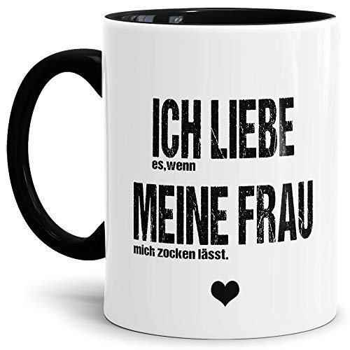Spruch Tasse für den Mann Ich Liebe Meine Frau - Zocken/Witzig/Geschenk-Idee unter Freunden oder Kumpels/Männer-Tag/Innen & Henkel Schwarz