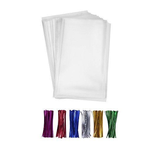 200 Poly Treat Bags 5x7 with 4' Twist Ties Assorted Colors - 1.4mils Thickness OPP Plastic Bags of Candy Cookie Treat (5'' x 7'')