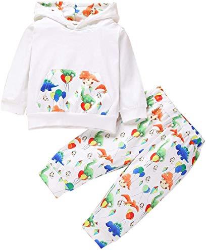 Sudadera con capucha con estampado de dinosaurio, 2 piezas, ropa para bebé, ropa de manga larga con capucha + pantalones, color blanco 70 .au Fashion