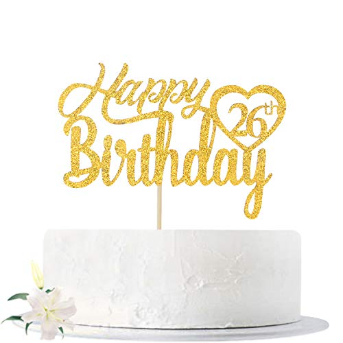 Gold Glitter Happy 26th Birthday Cake Topper, Hello 26, Cheers to 26 Years Old, 26 Years Old Party Supplies Decoration
