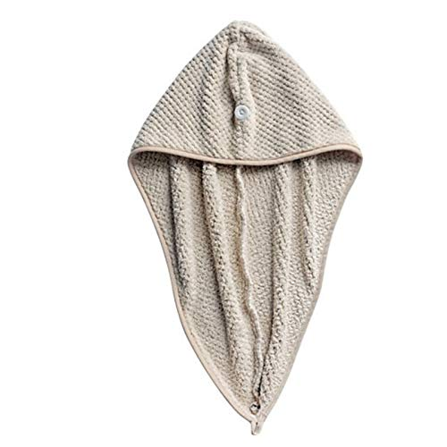 SLLX Toalla de baño de Microfibra Cabello seco seco rápido Dama baño Toalla Suave Ducha Gorra Gorra para Lady Man Turban Cabeza Envoltura Herramientas de baño (Color : Khaki)