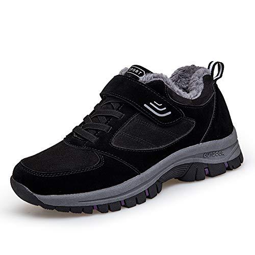 [ZUBOK] スニーカー メンズ レディース 介護シューズ 高齢者シューズ 安全靴 マジックテープ 外反母趾 通気性 柔軟性 メッシュ 中高齢者靴 (24.5cm, ブラックレッド(コットン))