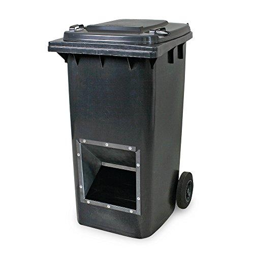 Mobiler Streugutbehälter, Streusalzbehälter 240 Liter, mit Entnahmeöffnung, auch für Streusplit, grau/anthrazit