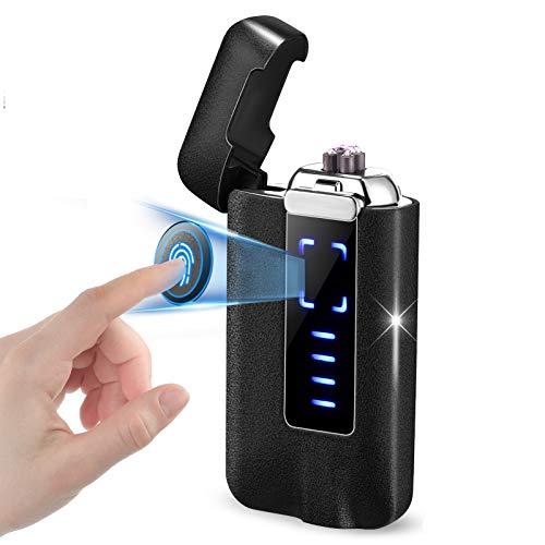 NAOLIU Accendino Elettrico USB,Accendino Antivento con Sensore di Impronte Digitali,Accendino al Plasma USB con Indicatore Batteria, Antivento Accendino USB Plasma,Regalo per San Valentino Compleanno