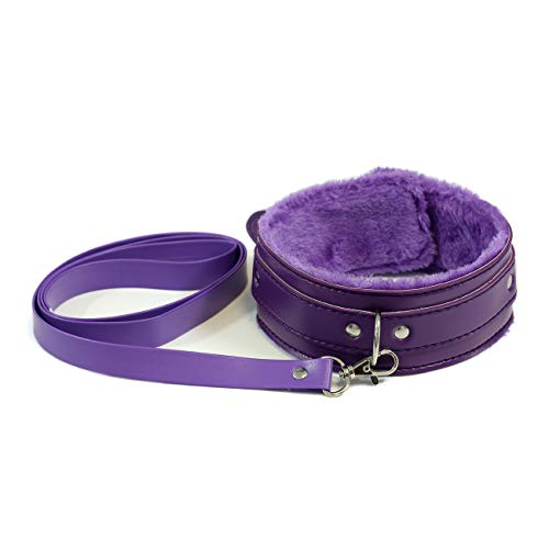 Purple Leather Collar And Leash Neck Choker Adjustable Necklace With Chain Detachable For Men Women