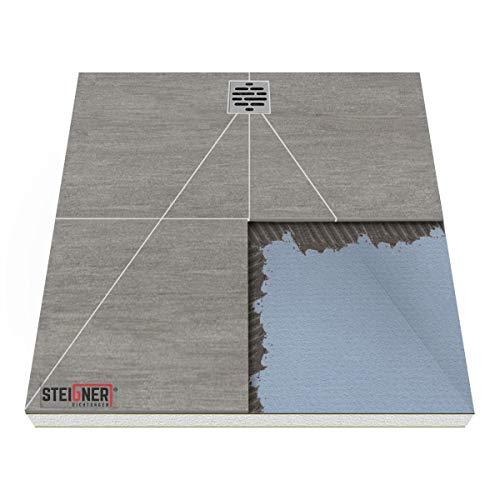 Duschelement MINERAL PLUS 2.Pos Duschboard befliesbar 100x120 cm DEZENTRALER Punkt Ablauf WAAGERECHT