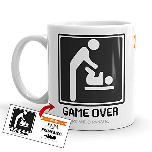 Kembilove Taza de Café Padre ¡Cuidado! Papá Primerizo – Taza de Desayuno para Regalar el día del Padre – Tazas de Café y Té para Padres y Abuelos – Regalo Original Día del Padre