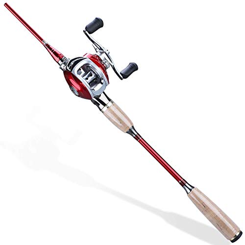 Sougayilang Fishing Baitcaster Combos, Lightweight Baitcasting Combo Fishing Rod and 11+1BB Fishing Reel Right Left Hand for Travel 4 Pieces Saltwater Freshwater-Right Handed/6.9FT