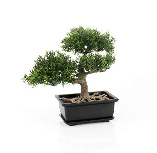 artplants.de Künstlicher Bonsai Zeder im Töpfchen, ca. 23cm - hochwertiger Kunstbonsai
