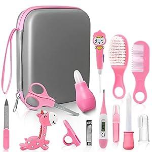 Set Para Cuidado Del Bebé, Unipampa 14 Piezas Kit de cuidado de bebé, Set Para El Cuidado Del Bebé, Kit de Aseo para Bebés, Accesorios Bebes para Viaje y el Uso Diario, Regalos para Bebes(Rosa) (pink)