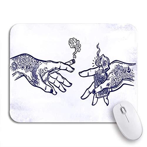 Gaming mouse pad tätowierte menschliche hände halten unkraut joint spliff tabacco zigarette rutschfeste gummi backing mousepad für notebooks computer maus matten