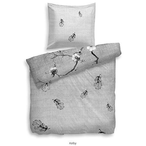 Heckett Lane Celby Parure de lit réversible en Satin de Coton mako Noir/Blanc 135 x 200 cm + 80 x 80 cm