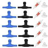 Kepfire 10 piezas de plástico en forma de T bomba de aire ajustable válvula de control de acuario y 5 piezas válvulas de retención de 2 vías conector de manguera para tanque de peces