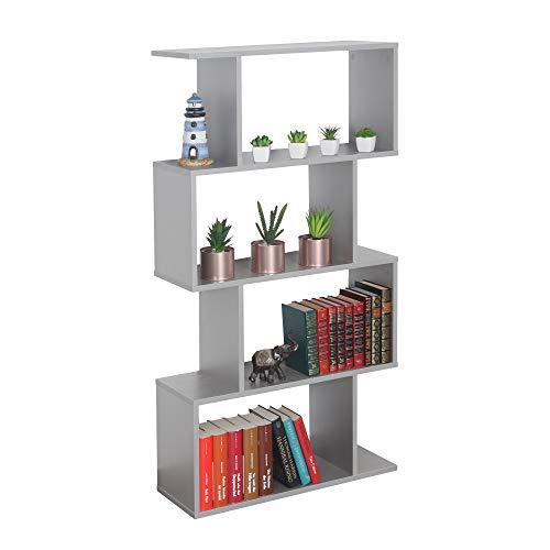 RICOO WM071-PL Estantería 129 x 70 x 25 cm Estante Librería Moderna Biblioteca Muebles de hogar Mueble almacenaje 4 Niveles Color Madera Gris