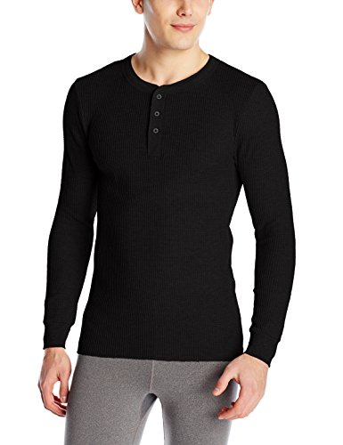 Fruit of the Loom Men's Classic Midweight Waffle Thermal Henley Top, Black Soot, X-Large