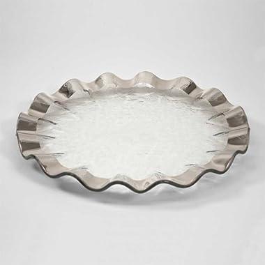 Annieglass 13 Inch Buffet Plate - Ruffle Series (Platinum)