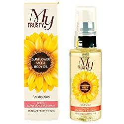 My Trusty Sunflower Face & Body Oil with Neroli, Bergamot & Rosemary is a beautifully light, non-greasy, daily moisturiser. Specially formulated to nourish the skin,thanks to Linoleic Acid sourced from natural sunflower oil, rich in skin improving vi...