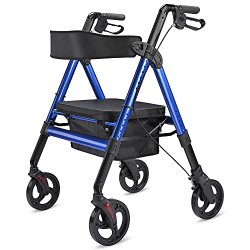 AW Large Medical Rollator Bariatric Rolling Walker Padded Seat Folding Aluminum