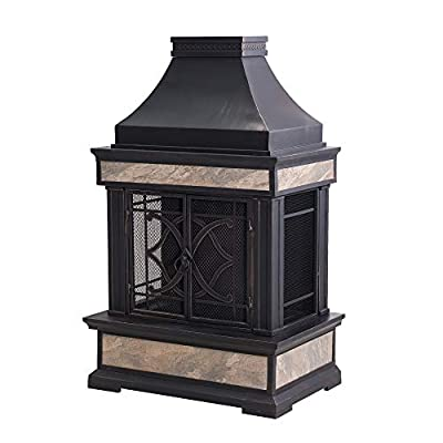 Sunjoy A304001000 Heirloom Slate Wood Burning Fireplace, Color: Black