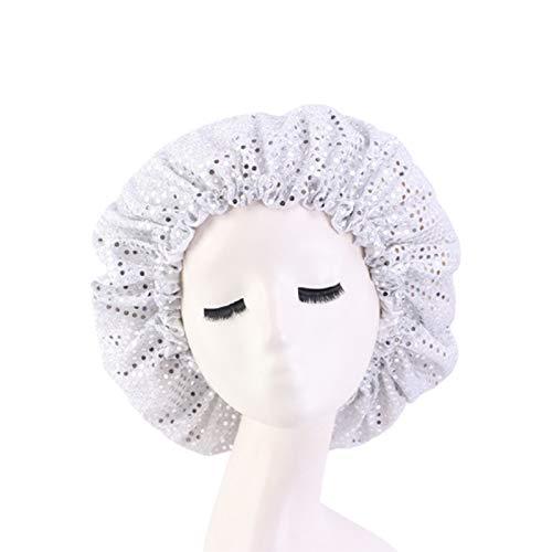 Sombrero elástico para dormir con lentejuelas ajustables para la cabeza, para el cuidado del cabello para las mujeres