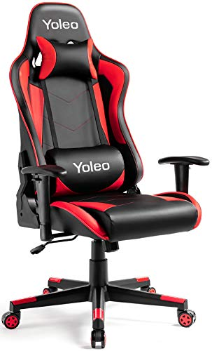 Gaming Chair - Yoleo Ergonomic Office Gamer Chair High Back, Computer Gaming Chair Backrest & Seat Height Adjustment, Executive Racing Swivel Desk Chair with Lumbar Support & Headrest - Black/Red
