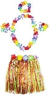 Girl's Elastic Hawaiian Hula Dancer Grass Skirt with Flower Costume Set -multi-color