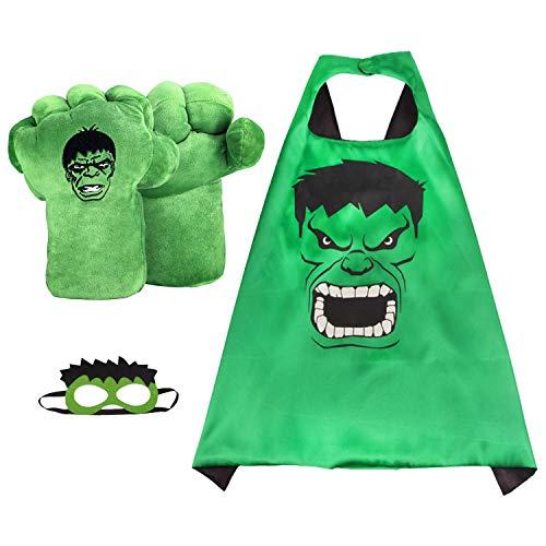 EQUASIS Hulk Hands Gloves for Kids Hulk Toy Incredible Hulk Soft Plush Toys Cosplay Superhero Costume , Birthday Gifts for Kids, Teens, Girls Boys. (1 Pair Green)