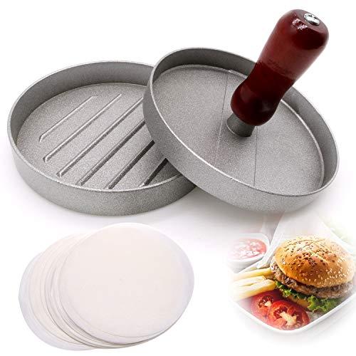 JiangLin Pressa per Hamburger Pressa Stampa in Alluminio + 100 Carta Antiaderente, Rotondi, Macchinetta Antiaderente per Patty, BBQ, Grill e Cucina
