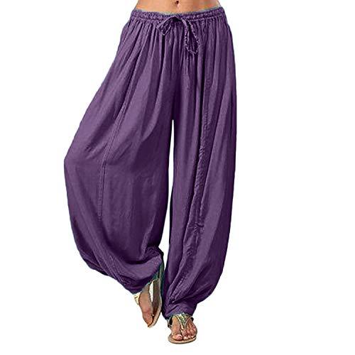 Pantalones Largos para Mujer Plus Size Solid Color Casual Loose Harem Pants...